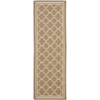 Safavieh Indoor/ Outdoor Courtyard Brown/ Bone Rug (2'3 x 8')