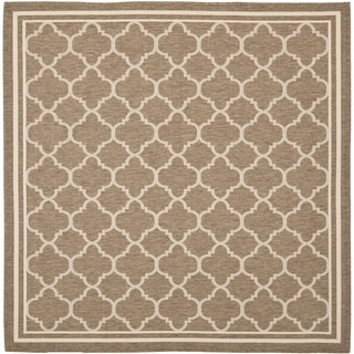 Safavieh Indoor/ Outdoor Courtyard Brown/ Bone Rug (5'3 Square)