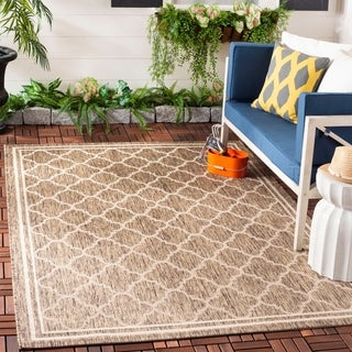 Safavieh Indoor/ Outdoor Courtyard Brown/ Bone Rug (5'3 Square)