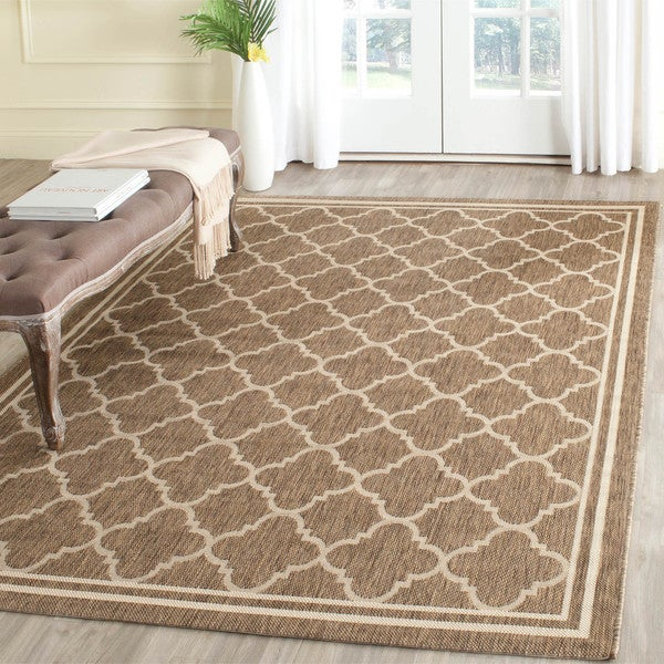 Safavieh Indoor/ Outdoor Courtyard Brown/ Bone Rug - 5'3 Square