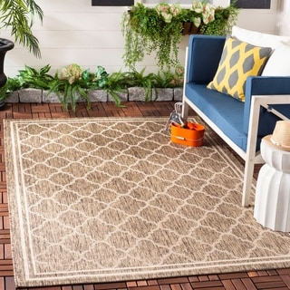Safavieh Indoor/Outdoor Courtyard Brown/Bone Round Diamond Rug (7'10 Square)