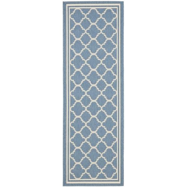 Safavieh Indoor/ Outdoor Courtyard Blue/ Beige Runner Rug (2'3 x 16')
