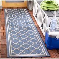 "Safavieh Courtyard Kailani Blue/ Beige Indoor/ Outdoor Rug - 2'3"" x 18' Runner"