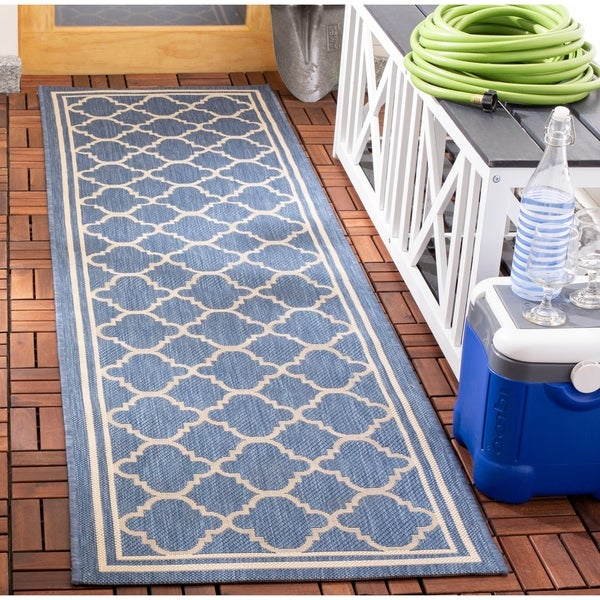 "Safavieh Courtyard Kailani Blue/ Beige Indoor/ Outdoor Rug - 2'3"" x 20' Runner"