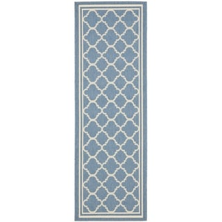 Safavieh Indoor/ Outdoor Courtyard Blue/ Beige Runner Rug (2'3 x 22')