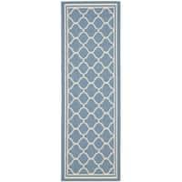 Safavieh Indoor/ Outdoor Courtyard Blue/ Beige Runner Rug - 2'3 x 22'