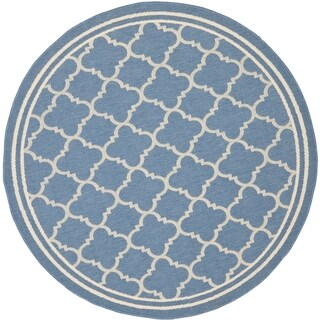 Safavieh Indoor/Outdoor Courtyard Blue/Beige Stain-resistant Rug - 7'10 Round