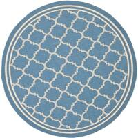"""Safavieh Indoor/Outdoor Courtyard Blue/Beige Stain-resistant Rug - 7'10"""" x 7'10"""" round"""
