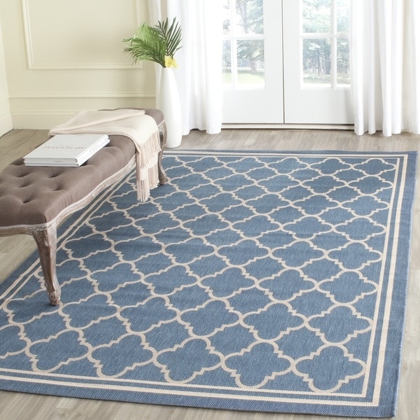 Shop Safavieh Indoor Outdoor Courtyard Blue Beige Rug 5 3 X 5 3
