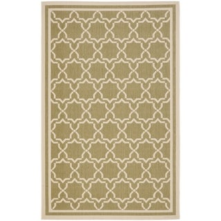 Safavieh Courtyard Poolside Green/ Beige Indoor/ Outdoor Rug (9' x 12')