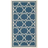 Safavieh Indoor/ Outdoor Courtyard Navy/ Beige Rug - 2' x 3'-7""