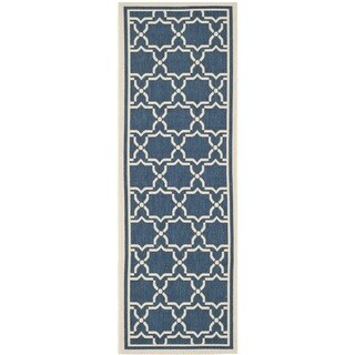 Safavieh Indoor/ Outdoor Courtyard Navy/ Beige Rug (2'3 x 10')