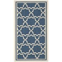 Safavieh Indoor/ Outdoor Courtyard Navy/ Beige Rug - 2'7 x 5'