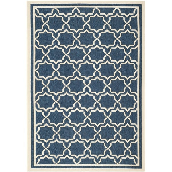 Safavieh Indoor/ Outdoor Courtyard Navy/ Beige Rug (6'7 x 9'6) - 6'7 x 9'6