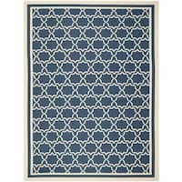 Safavieh Indoor/ Outdoor Courtyard Navy/ Beige Area Rug - 8' x 11'