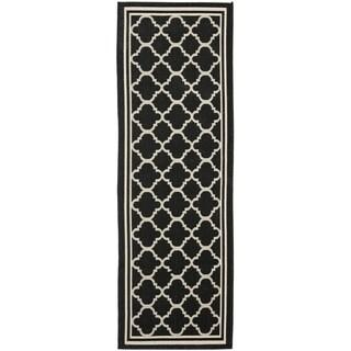 Safavieh Black/ Beige Indoor/ Outdoor Courtyard Runner Rug (2'3 x 16')