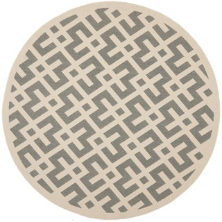 Safavieh Courtyard Contemporary Grey/ Bone Indoor/ Outdoor Rug (7'10 Round)