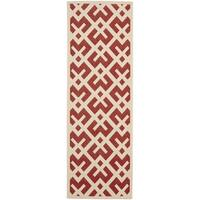 Safavieh Courtyard Contemporary Red/ Bone Runner Indoor/ Outdoor Rug (2'4 x 12') - 2'4 x 12'