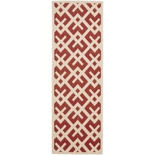 Safavieh Indoor/ Outdoor Courtyard Red/ Bone Rug (2'4 x 14')