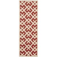 Safavieh Courtyard Contemporary Red/ Bone Indoor/ Outdoor Rug - 2'4 x 14'
