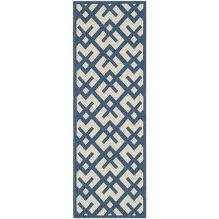 Safavieh Indoor/Outdoor Courtyard Navy/Beige Abstract Rug (2'3 x 10')