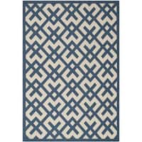 Safavieh Courtyard Contemporary Navy/ Beige Indoor/ Outdoor Rug - 8' x 11'2'