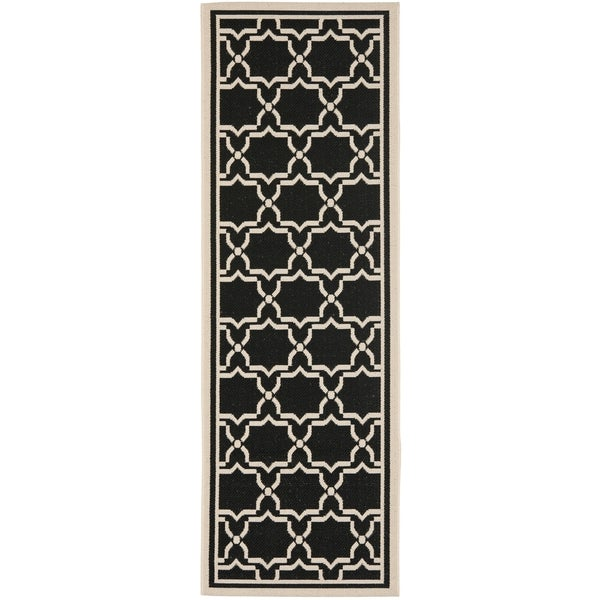 Safavieh Courtyard Poolside Black Beige Indoor Outdoor