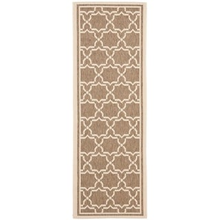 "Safavieh Indoor/Outdoor Courtyard Brown/Bone Runner Rug (2'4"" x 14')"