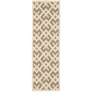 Safavieh Indoor/ Outdoor Courtyard Brown/ Bone Rug (2'4 x 14')