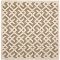 "Safavieh Courtyard Contemporary Brown/ Bone Indoor/ Outdoor Rug - 7'10"" x 7'10"" square"