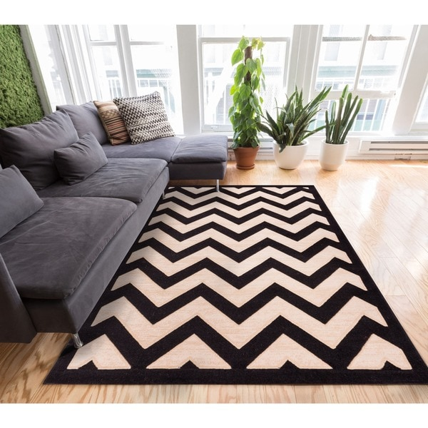 Well Woven Modern Chevron Zigzag Stripe Carved Effect Area Rug - 7'10 x 9'10