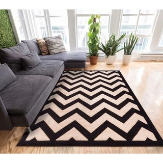 Well-woven Modern Chevron Zigzag Stripe Carved Effect Area Rug (7'10 x 9'10)
