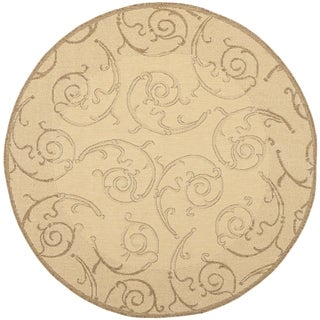 Safavieh Oasis Scrollwork Natural/ Brown Indoor/ Outdoor Rug (7'10 Round)