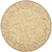 Safavieh Oasis Scrollwork Natural/ Brown Indoor/ Outdoor Rug - 7'10 Round