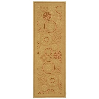Safavieh Ocean Swirls Natural/ Terracotta Indoor/ Outdoor Rug (2'4 x 12')