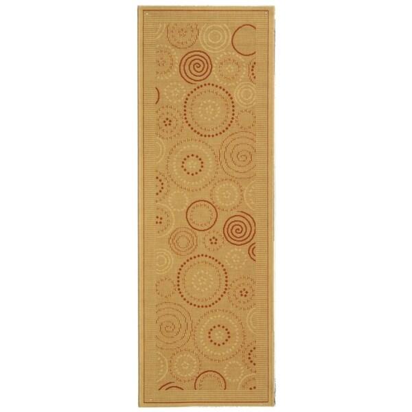 Safavieh Ocean Swirls Natural/ Terracotta Indoor/ Outdoor Rug (2'4 x 12')