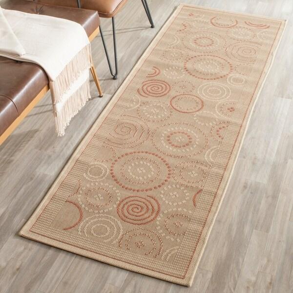 Safavieh Ocean Swirls Natural/ Terracotta Indoor/ Outdoor Rug - 2'4 x 12'