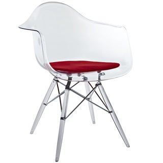 'Eiffel' Transparent PC Red Cushioned Arm Chair