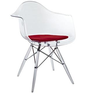 'Eiffel' Transparent PC Red Cushioned Arm Chair