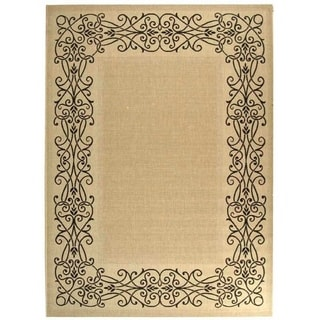 Safavieh Ocean Sand/ Black Indoor/ Outdoor Rug (9' x 12')