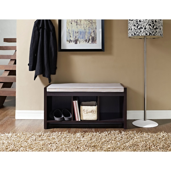 Ameriwood Home Penelope Espresso Entryway Storage Bench with Cushion