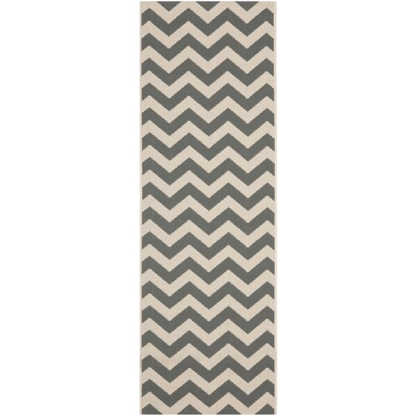 Safavieh Courtyard Chevron Grey Beige Indoor Outdoor