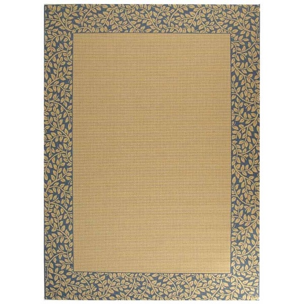 Safavieh Courtyard Natural/ Blue Indoor/ Outdoor Rug - 9' x 12'