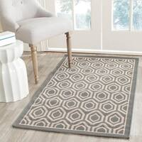 Safavieh Courtyard Honeycomb Anthracite/ Beige Indoor/ Outdoor Rug (8' x 11')