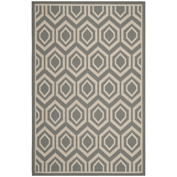 "Safavieh Indoor/Outdoor Courtyard Geometric Anthracite/Beige Rug (6'7"" x 9'6"")"