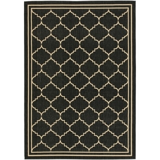 Safavieh Courtyard Transitional Black/ Cream Indoor/ Outdoor Rug (9' x 12')