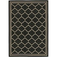 Safavieh Courtyard Transitional Black/ Cream Indoor/ Outdoor Rug - 9' x 12'