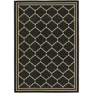 Safavieh Courtyard Transitional Black/ Cream Indoor/ Outdoor Rug (8' x 11')