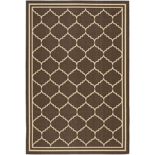 Safavieh Indoor/ Outdoor Courtyard Chocolate/ Cream Rug (9' x 12')