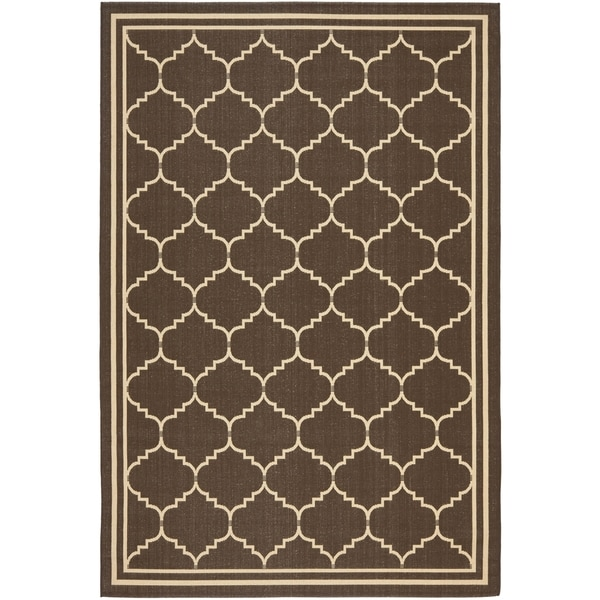 Safavieh Courtyard Transitional Chocolate/ Cream Indoor/ Outdoor Rug - 9' x 12'